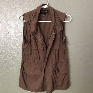 Forever 21 green brown utility vest